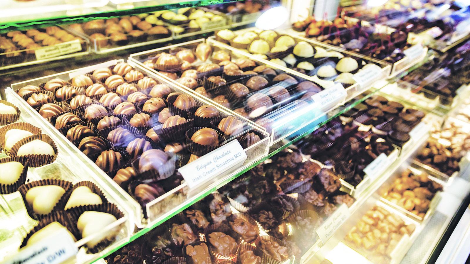 chocolate display at I love chocolate retail location