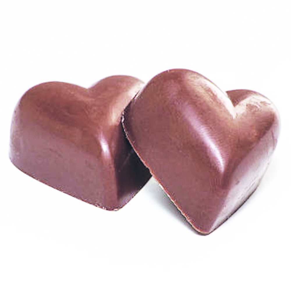 smooth milk chocolate in heart shape