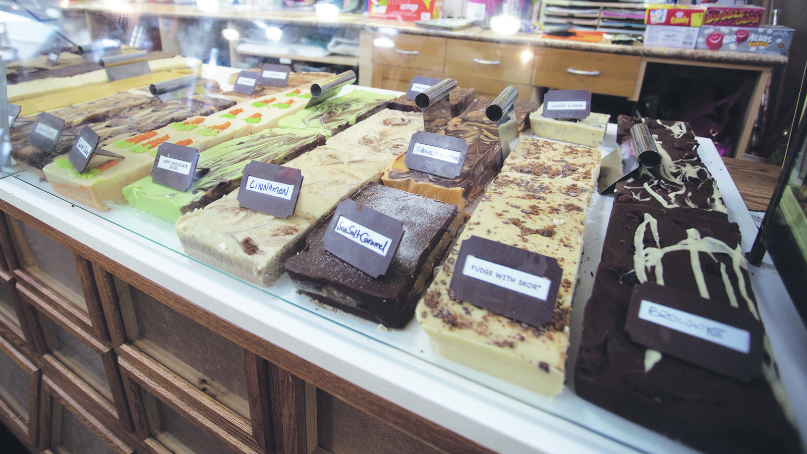 fudge display at I love chocolate retail location